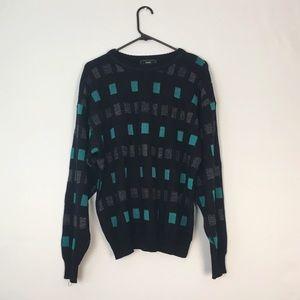 Vintage Black Checkered Teal Grey Sweater Unisex L